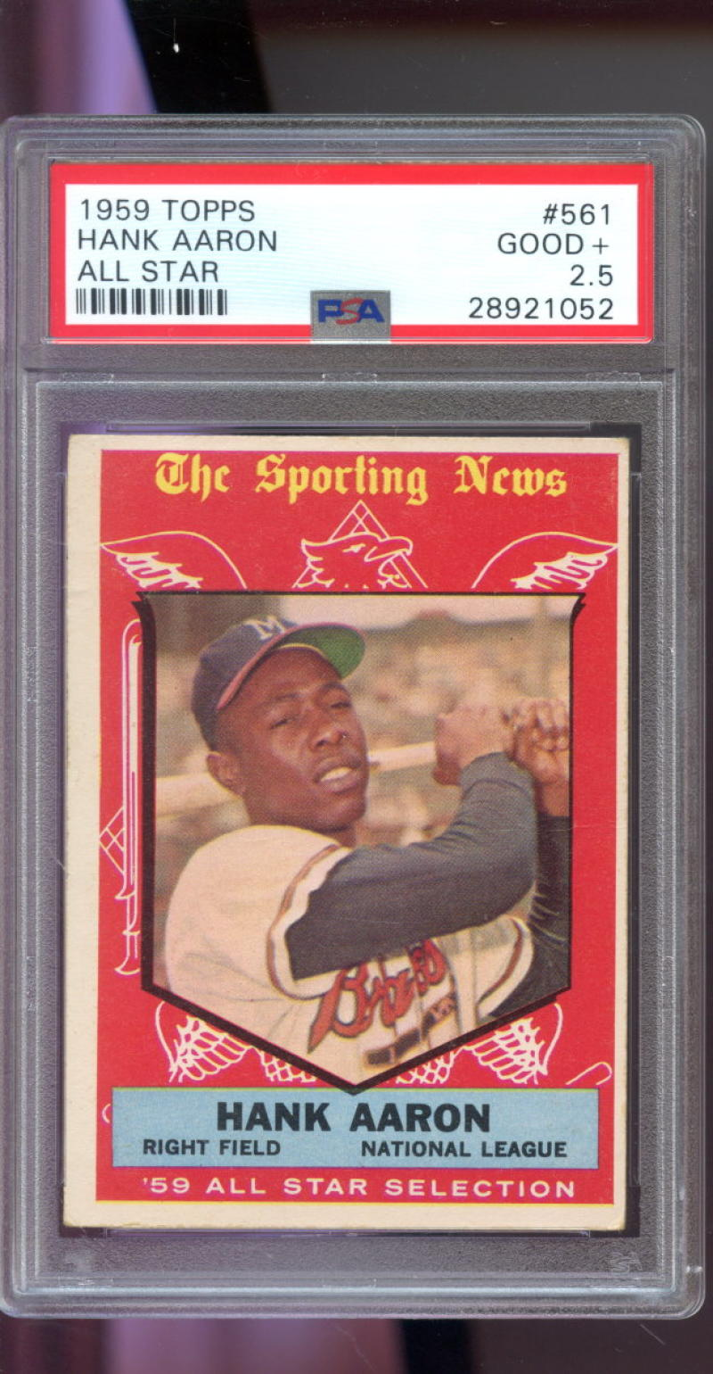 Details About 1959 Topps 561 Hank Aaron All Star Atlanta Braves Psa 25 Graded Baseball Card