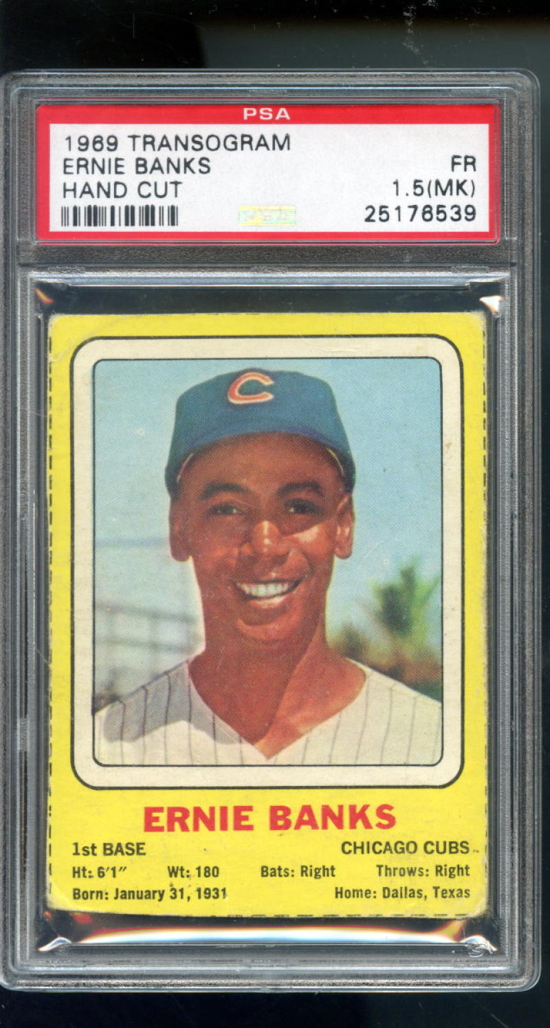 Details About 1969 Transogram Ernie Banks Chicago Cubs Mlb Psa 15 Mk Graded Baseball Card