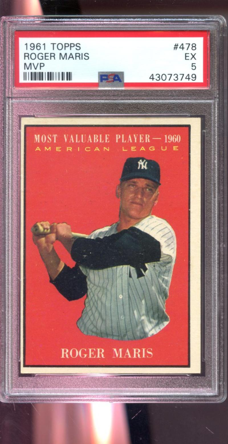 Details About 1961 Topps 478 Roger Maris 1960 Mvp Most Valuable Player Mlb Psa 5 Graded Card